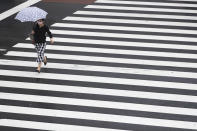 A woman wearing a face mask to help curb the spread of the coronavirus walks across an intersection in a drizzle in Tokyo, Thursday, Sept. 2, 2021. (AP Photo/Hiro Komae)
