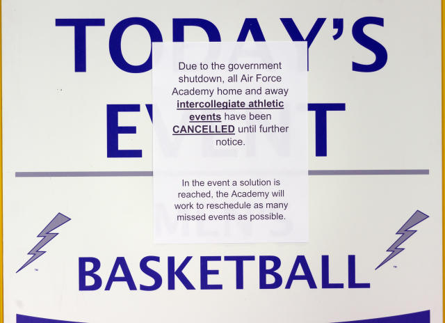 <p>A sign overs up the 'Today's Event' at Cadet Field House that reads that the Air Force Academy has canceled all athletic events on Saturday Jan. 20, 2018 at the U.S. Air Force Academy in Colorado Springs, Colo. (Photo: Dougal Brownlie/The Gazette via AP) </p>