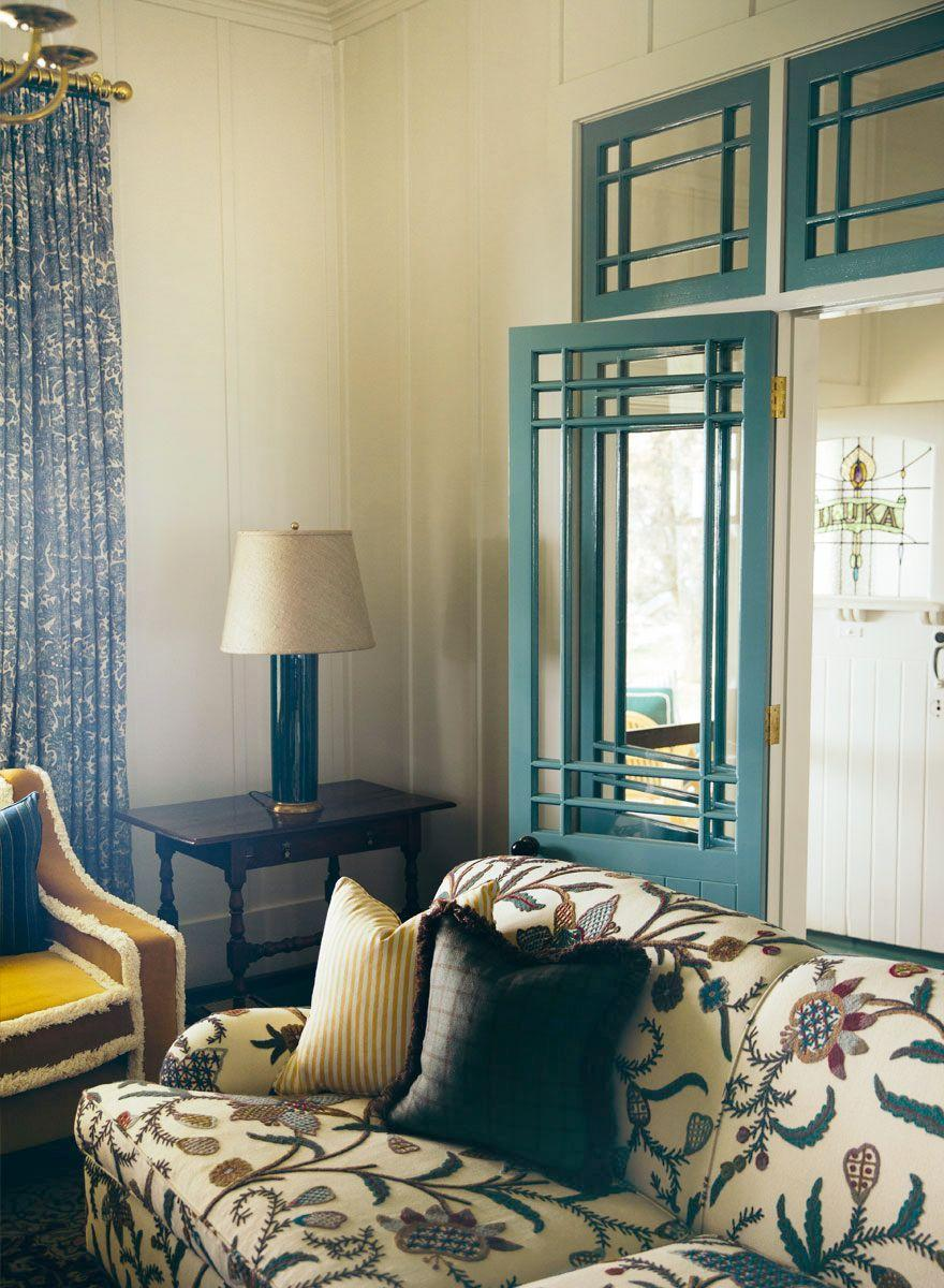 """<p>A stained glass window on the front door of this home by <a href=""""https://annaspirodesign.com.au/"""" rel=""""nofollow noopener"""" target=""""_blank"""" data-ylk=""""slk:Anna Spiro Design"""" class=""""link rapid-noclick-resp"""">Anna Spiro Design</a> creates a personalized welcome. Whether you choose a Latin message that means something special to you or you opt for initials or the family name, it'll beautify both the exterior and interior of your home. Like a doormat, but so much more elevated and timeless.</p>"""