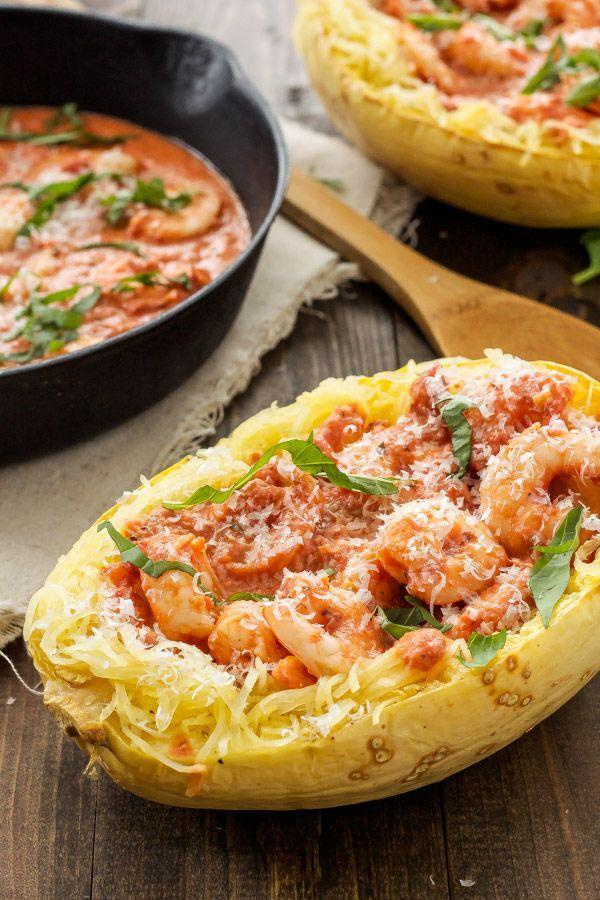 "<p>It's like a carb-free shrimp scampi.</p><p>Get the recipe from <a href=""http://reciperunner.com/spicy-tomato-garlic-shrimp-spaghetti-squash/"" rel=""nofollow noopener"" target=""_blank"" data-ylk=""slk:Recipe Runner"" class=""link rapid-noclick-resp"">Recipe Runner</a>.</p>"
