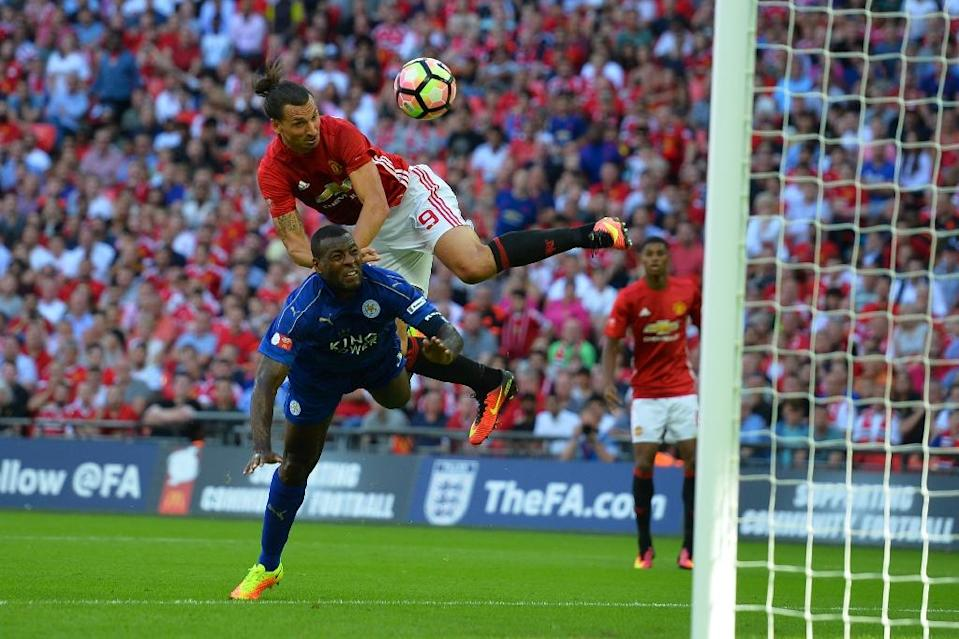 Manchester United's Swedish striker Zlatan Ibrahimovic made his first official United appearance at Wembley in August's Community Shield against Leicester City, a towering late header giving him the 29th trophy of his career (AFP Photo/GLYN KIRK )