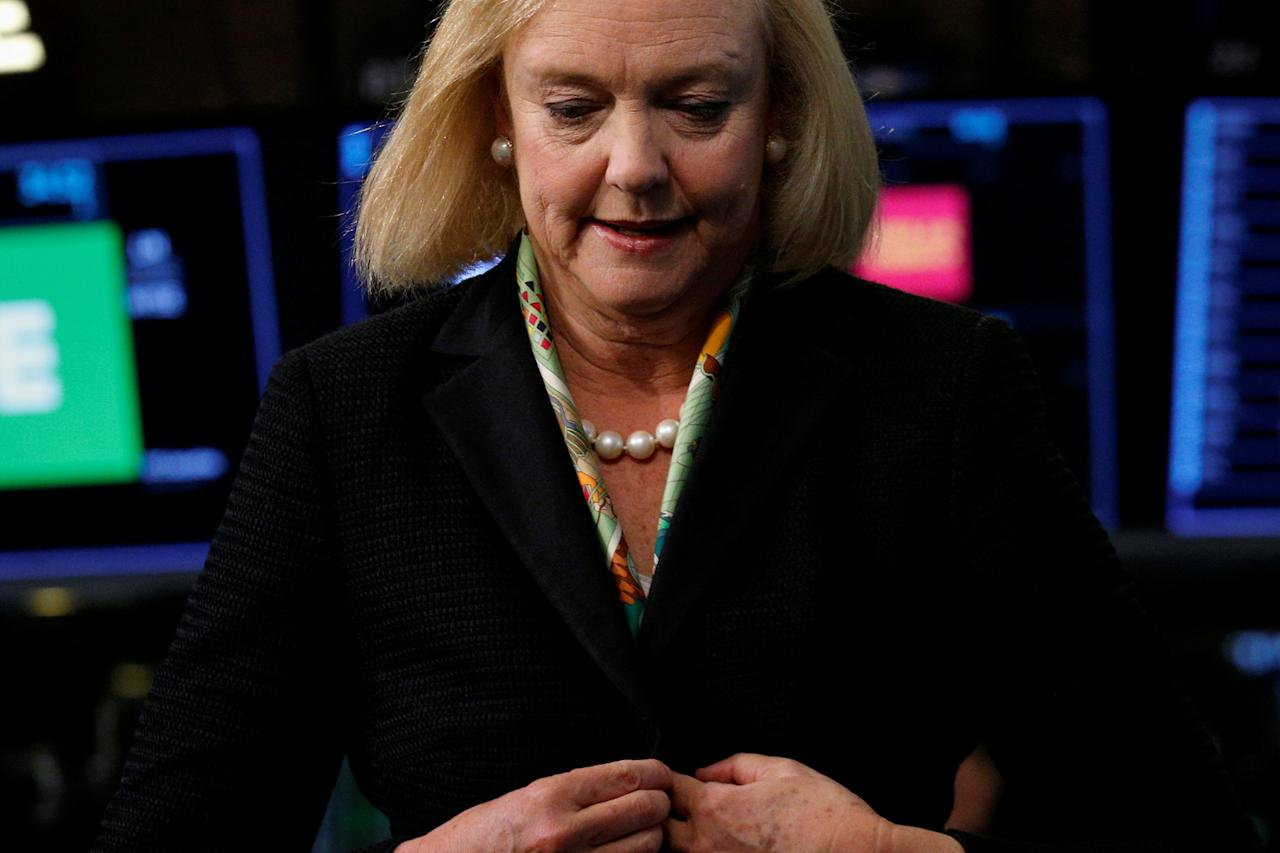Hewlett Packard Enterprise CEO Meg Whitman reacts following an interview on CNBC on the floor of the New York Stock Exchange (NYSE) in New York, U.S., September 6, 2017. REUTERS/Brendan McDermid