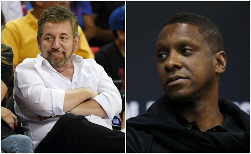 There appears to be hurdles that prevent Masai Ujiri, right, from leaving Toronto. (Getty Images)