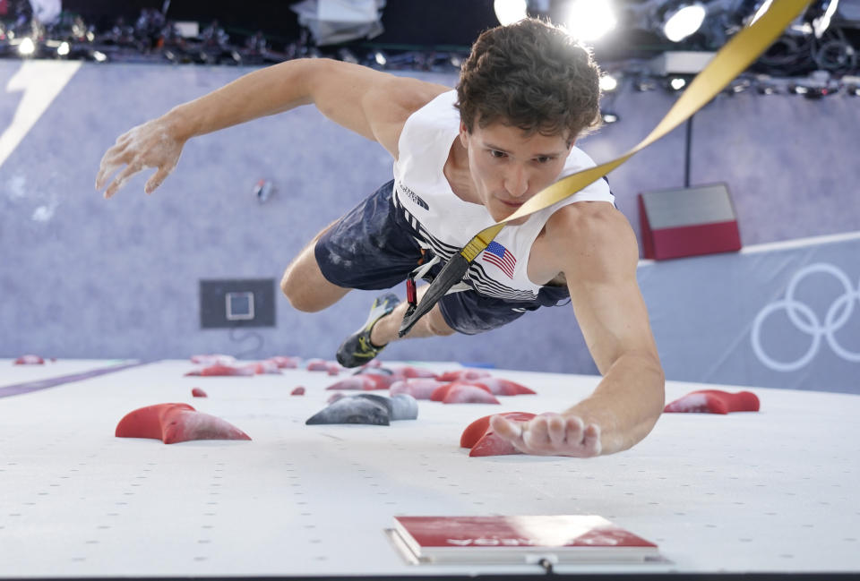 TOKYO, JAPAN - AUGUST 03: Nathaniel Coleman of The United States of America during the Sport Climbing Men's Combined, Speed Qualification on day eleven of the Tokyo 2020 Olympic Games at Aomi Urban Sports Park on August 03, 2021 in Tokyo, Japan. (Photo by Pool/Getty Images)