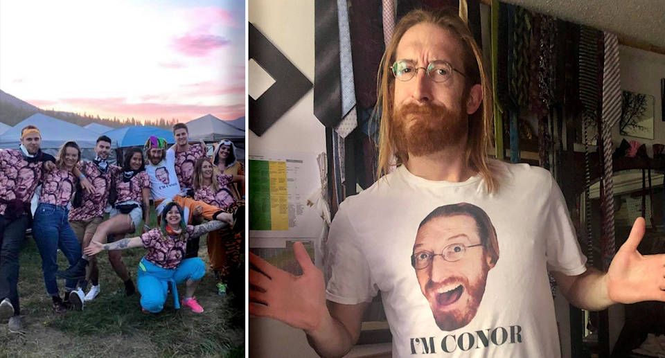 The shirt with Conor Davis's (right) face on it was created for his fortieth birthday (left). Source: Supplied