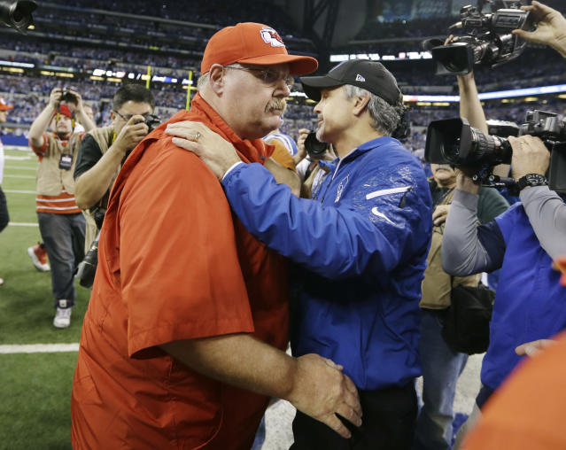 Kansas City Chiefs head coach Andy Reid, left, and Indianapolis Colts head coach Chuck Pagano meet on the field after an NFL wild-card playoff football game Saturday, Jan. 4, 2014, in Indianapolis. Indianapolis defeated Kansas City 45-44. (AP Photo/Michael Conroy)