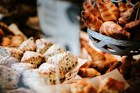 <p>Wait, do you really have leftover pastries? If you're saving them for later, your best bet is keeping them in a paper bag at room temperature. </p>