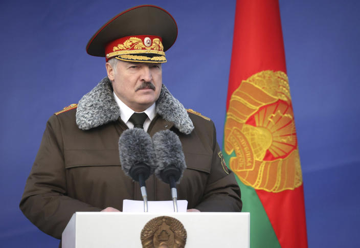 Belarusian President Alexander Lukashenko delivers his speech as he visits the Belarusian Interior Ministry special forces base in Minsk, Belarus, Wednesday, Dec. 30, 2020. (Maxim Guchek/BelTA Pool Photo via AP)