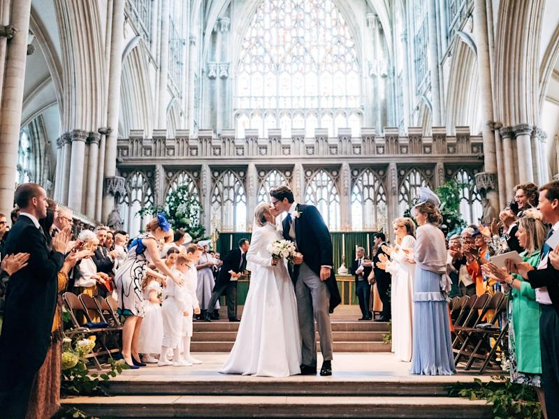 A photograph of the happy couple from inside York Minster [Photo: Matt Porteous]