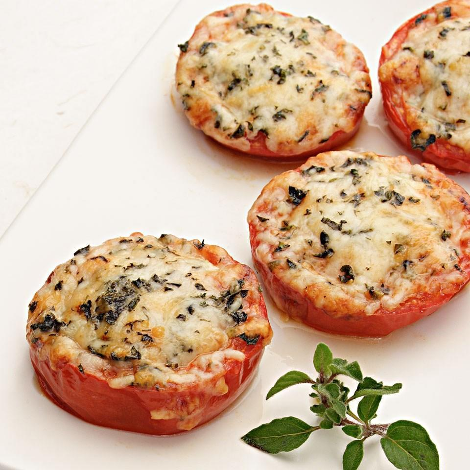 <p>A sprinkle of Parmesan and a drizzle of olive oil transform tomatoes into the perfect side dish. Or try sandwiching them between slices of your favorite whole-wheat country bread.</p>