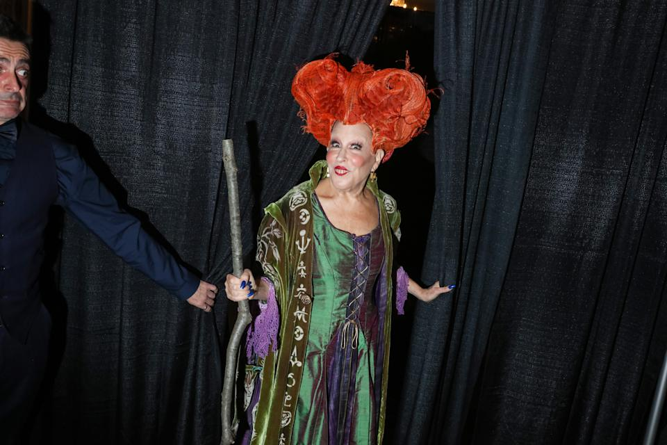NEW YORK, NY - OCTOBER 28: Bette Midler dressed as Winifred Sanderson from Hocus Pocus attends Bette Midler's Annual Hulaween Bash benefiting the New York Restoration Project at the Waldorf-Astoria Grand Ballroom on October 28, 2016 in New York City. (Photo by Rebecca Smeyne/Getty Images)