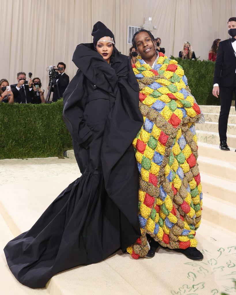 Rihanna and ASAP Rocky attend the 2021 Met Gala benefit in equally volumnous outfits. (Getty Images)