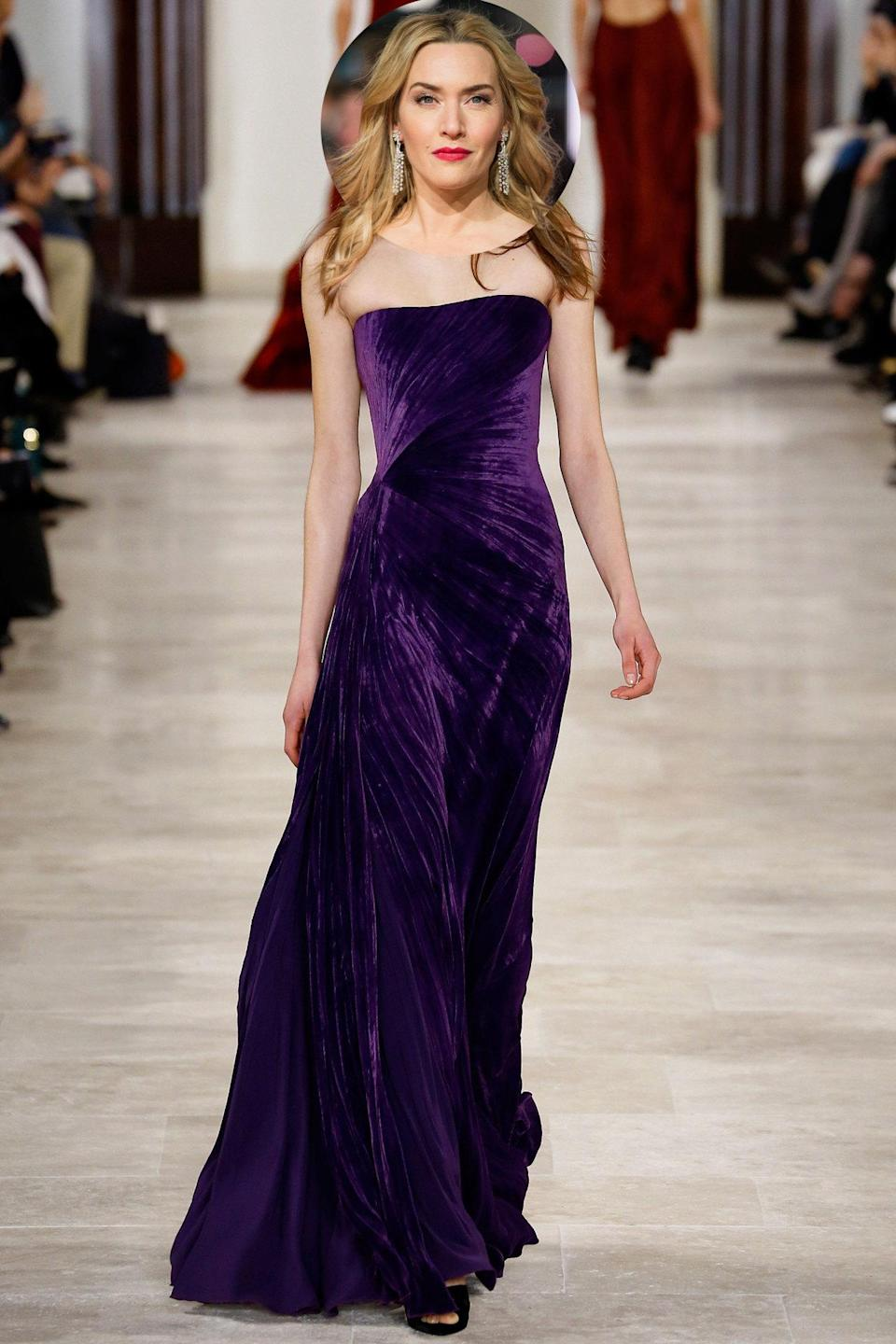 <p>Ms. Winslet loves her jewel tones — and this strapless purple gown from Ralph Lauren's fall 2016 collection practically <i>screams</i> Oscars.</p>