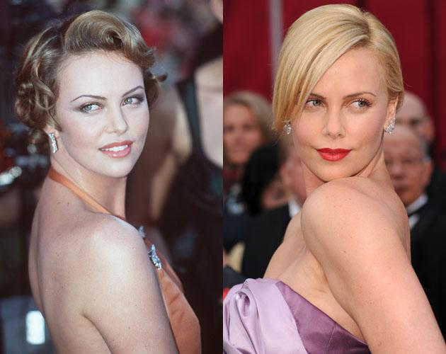 """Charlize Theron won Best Actress for """"Monster"""" at the 2004 Oscars. These two pictures are a decade apart, but Theron looks even more beautiful with her red pouty lipstick."""