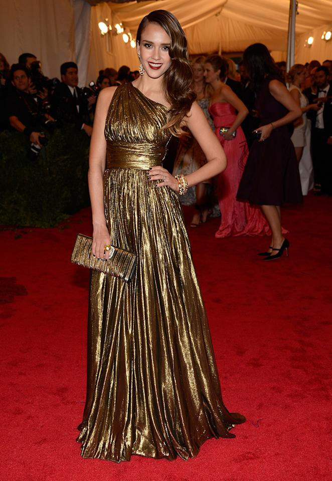Jessica Alba attends the 2012 Costume Institue Gala at the Metropolitan Museum of Art in New York City, NY on May 8, 2012.