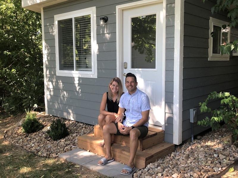 """Julie Masson's backyard """"she shed"""" looks like a mini home. Her husband Jesse helped build it during the pandemic so she can work remotely."""
