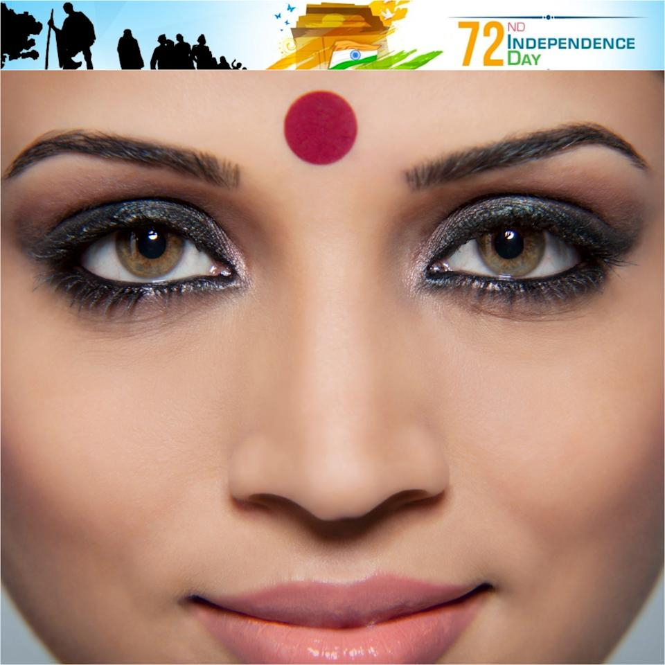 <p>The mesmerising coloured dot worn on the center of the forehead, commonly by Hindu and Jain women. The bindi or pottu finds its origins in the Rigveda (Hindu sacred texts). 'Bindu' is considered the point at which creation begins and may become unity. It is also described as the sacred symbol of the cosmos in its unmanifested state. Traditionally, the area between the eyebrows (where the 'bindi' is placed) is said to be the sixth chakra, 'ajna', the seat of 'concealed wisdom'. The bindi is said to retain energy and strengthen concentration. It also represents the third eye. One simple interpretation it is a cosmetic mark used to enhance beauty. In Hinduism, colour red represents honour, love and prosperity, hence it was worn to symbolise these aspects. In meditation, this very spot between the eyebrows is where one focuses his/her sight, so that it helps concentration. The bindi is also normally worn by married women. </p>