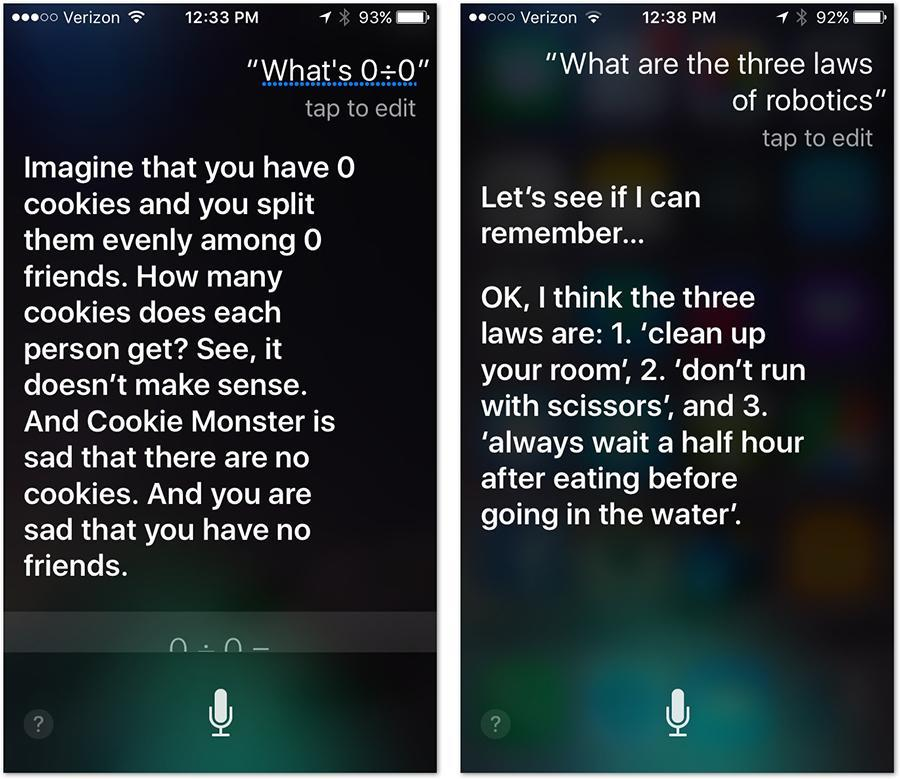 Siri and her peppy answers. Image Courtesy: Yahoo