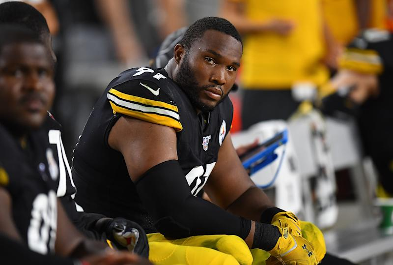 PITTSBURGH, PA - SEPTEMBER 30: Stephon Tuitt #91 of the Pittsburgh Steelers looks on during the game against the Cincinnati Bengals at Heinz Field on September 30, 2019 in Pittsburgh, Pennsylvania. (Photo by Joe Sargent/Getty Images)