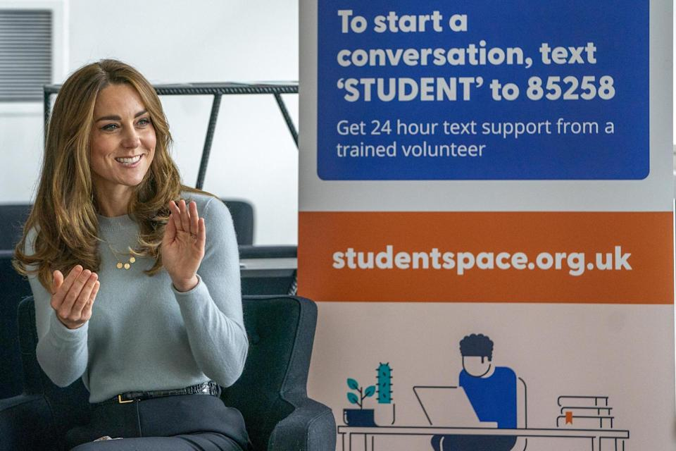 The Duchess of Cambridge during a visit to the University of Derby to meet first-year students ahead of World Mental Health Day: Arthur Edwards/The Sun