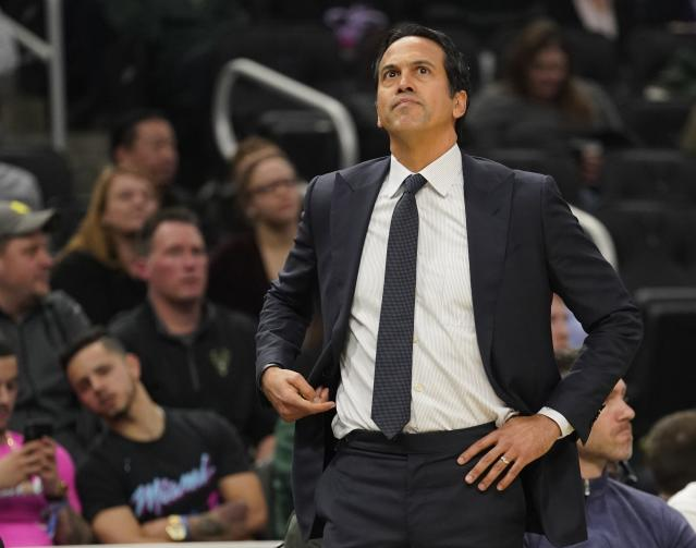 Erik Spoelstra was not happy with officials after Sunday's game. (AP Photo)