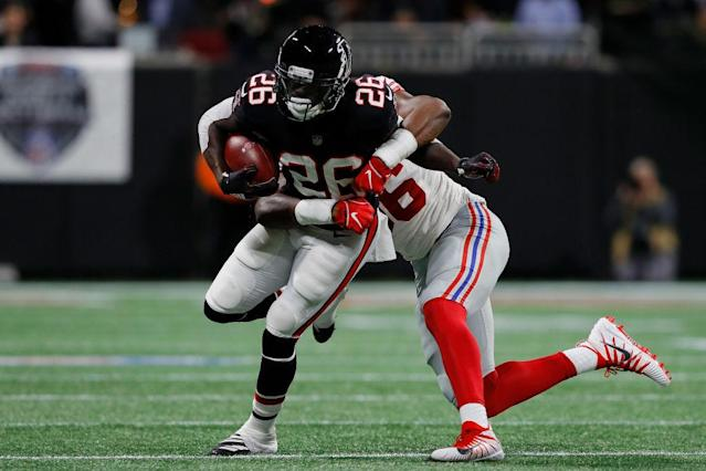 Tevin Coleman's 30-yard touchdown run was one of few highlights Monday night. (Getty)
