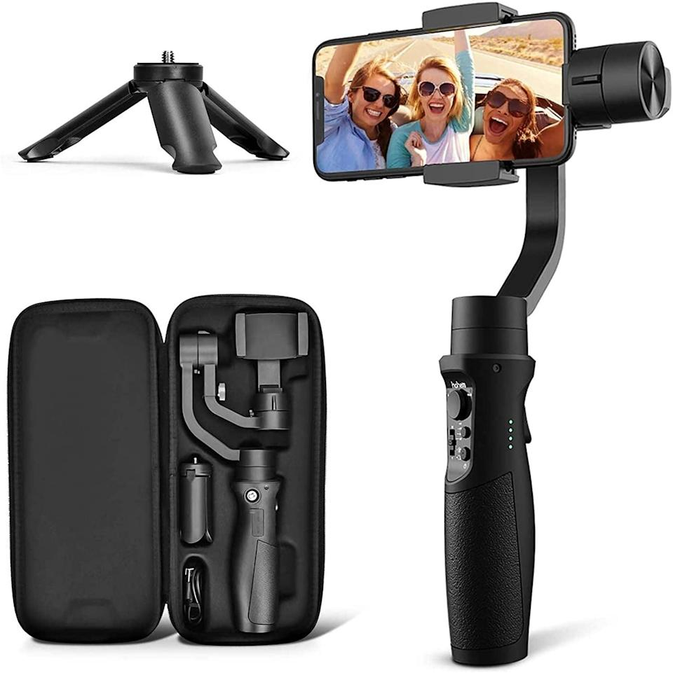 <p>They'll never get a blurry shot (unless that's the goal) again with the <span>3-Axis Gimbal Stabilizer For Smartphone</span> ($89). It's the No. 1 bestselling stabilizer on Amazon.</p>