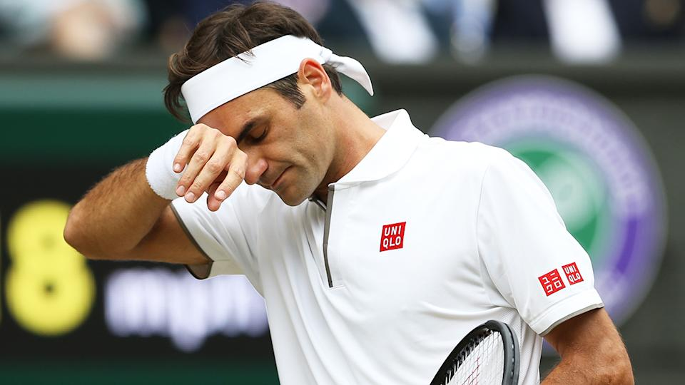 Roger Federer is pictured during the final of the men's singles at Wimbledon in 2019.