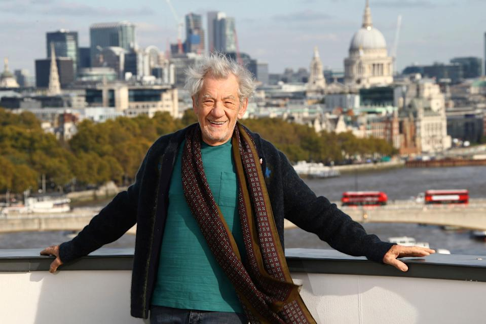 """In this Oct. 30, 2019, file photo, actor Sir Ian McKellen poses for photographers at a photocall for the film """"The Good Liar""""at a central London hotel."""