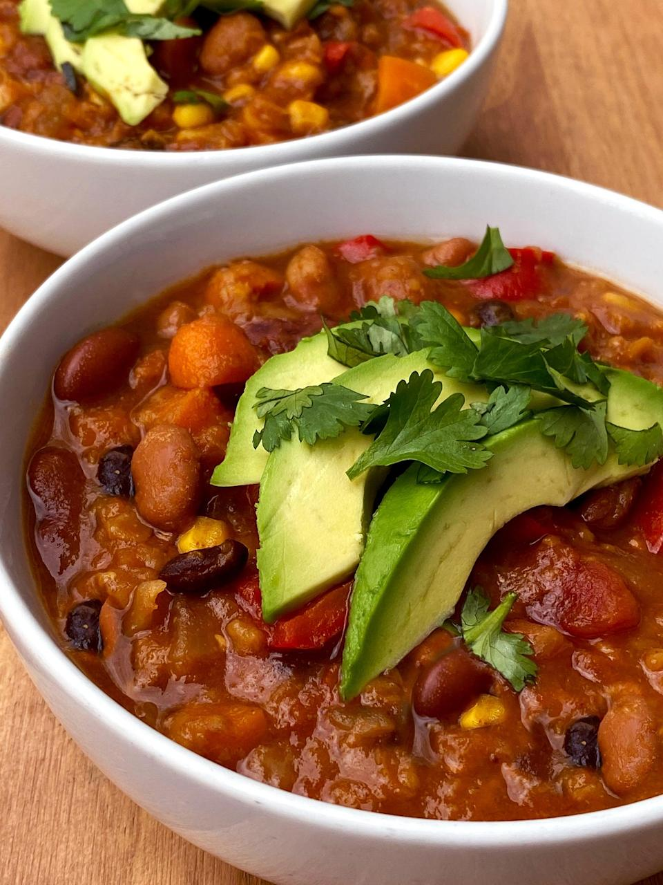 """<p>This hearty vegan chili only takes 10 minutes to prep, so you can throw the ingredients in your pressure cooker, and dinner will be ready in about 30 minutes.</p> <p><strong>Get the recipe:</strong> <a href=""""https://www.popsugar.com/fitness/high-protein-vegan-chili-instant-pot-recipe-47973345"""" class=""""link rapid-noclick-resp"""" rel=""""nofollow noopener"""" target=""""_blank"""" data-ylk=""""slk:4-bean Instant Pot chili"""">4-bean Instant Pot chili</a></p>"""