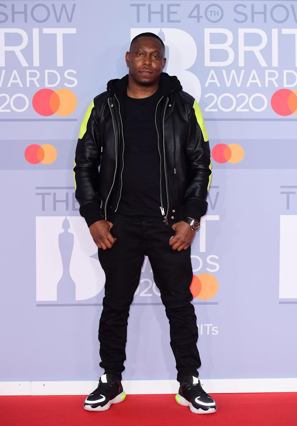 Dizzee Rascal arriving at the 2020 Brit Awards at the O2 Arena in London (Ian West/PA) (PA Archive)