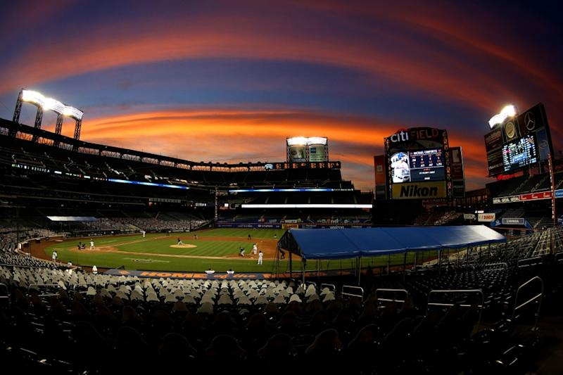 General view inside Citi Field at sunset