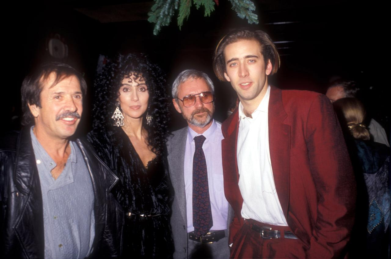 Sonny Bono & Cher & Norman Jewison & Nicolas Cage (Photo by Barry King/WireImage)