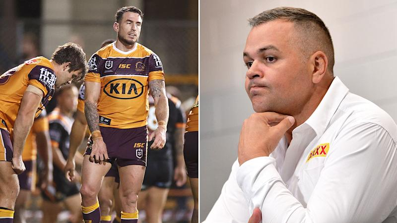 Pictured left, Brisbane veteran Darius Boyd and coach Anthony Seibold on the right.