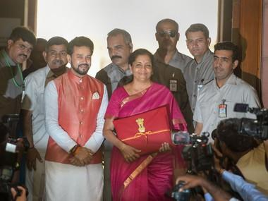 Finance Minister Nirmala Sitharaman with MoS Anurag Thakur arrive at Parliament to present the Union Budget 2019-20 in the Lok Sabha. PTI.
