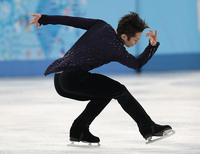Daisuke Takahashi of Japan competes in the men's free skate figure skating final at the Iceberg Skating Palace during the 2014 Winter Olympics, Friday, Feb. 14, 2014, in Sochi, Russia. (AP Photo/Ivan Sekretarev)