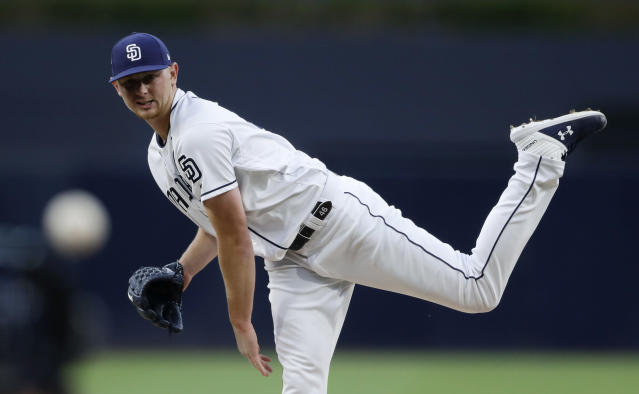 San Diego Padres starting pitcher Eric Lauer works against a Pittsburgh Pirates batter during the first inning of a baseball game Thursday, May 16, 2019, in San Diego. (AP Photo/Gregory Bull)