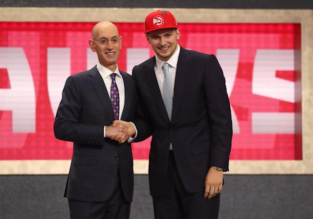 The Atlanta Hawks and Dallas Mavericks reached a deal in the NBA draft on Thursday night, trading the No. 3 and No. 5 picks to send Luka Doncic to the Mavericks. (Getty Images)Y