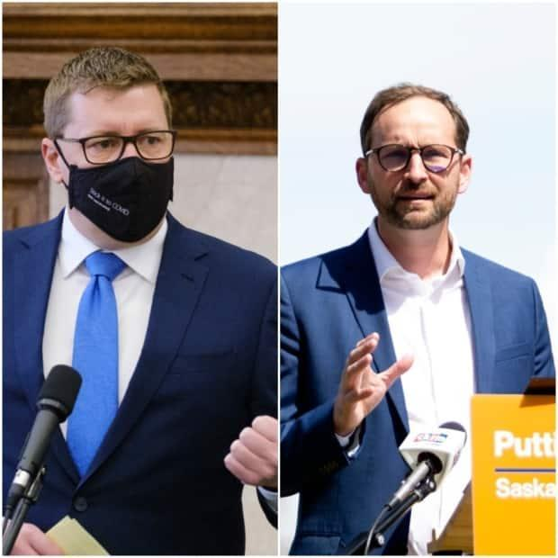 Opposition Leader Ryan Meili (right) disagrees with Premier Scott Moe's (left) decision to dismiss proof of vaccine at events. (Michael Bell/The Canadian Press, Bryan Eneas/CBC - image credit)