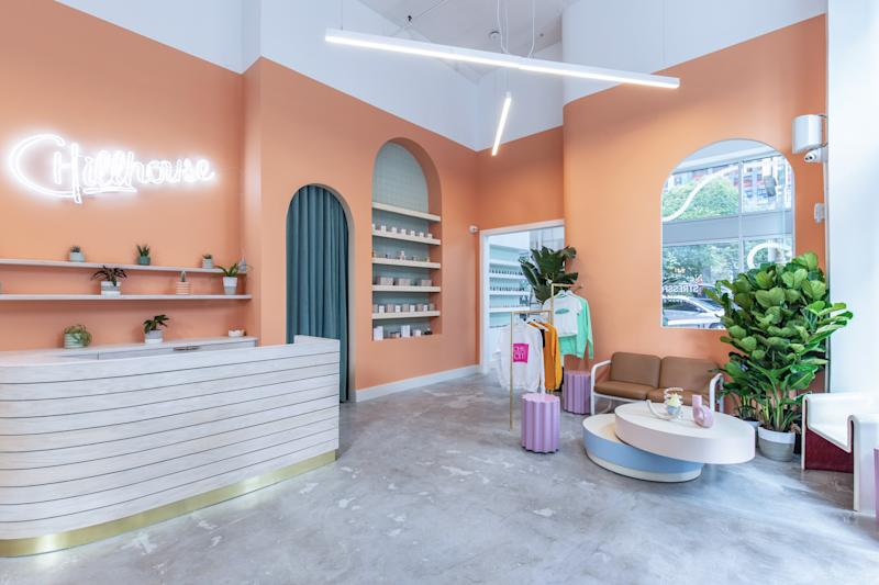 The reception and retail space at Chillhouse's new Soho flagship, which will open in November.