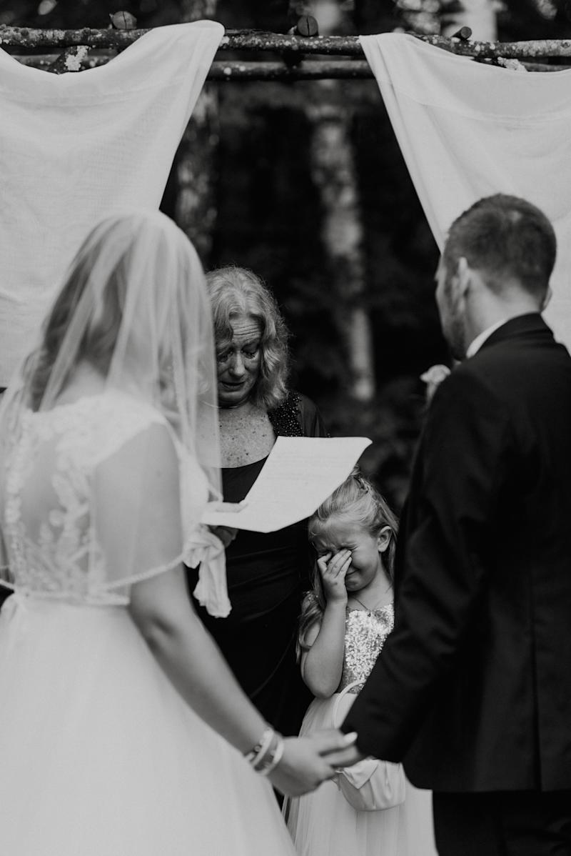 """Lydia and Brandon tied the knot with Brandon's adorable 7-year old-daughter in tow. Lydia wrote special vows just for her and read them during the ceremony. Not a dry eye in the crowd -- including me."" -- <i>Jennifer Smith</i>"