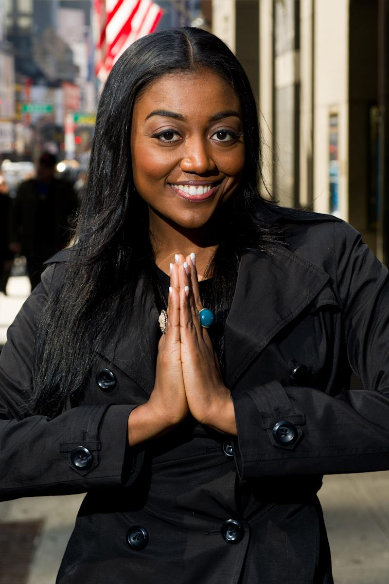 "In this April 6, 2011 photo, actress Patina Miller, who stars in the musical ""Sister Act,"" poses outside the Broadway Theatre in New York. (AP Photo/Charles Sykes, file)"