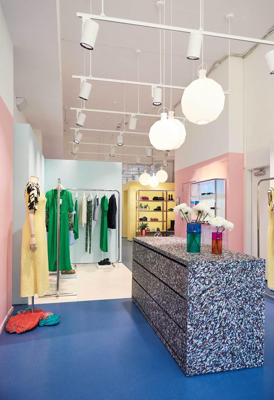 """<p><strong>Who: </strong>Ganni</p><p><strong>What: </strong>Williamsburg store opening</p><p><strong>Where:</strong> 113 N. 7th Street, Brooklyn, NY </p><p><strong>Why: </strong>Danish clothing brand and purveyor of Scandi-chic wares Ganni is putting down roots in Brooklyn's Williamsburg neighborhood, marking its second store in New York and sixth in the US. The store takes design cues from the SoHo location, featuring primary colors with artfully merchandised ready-to-wear and accessories; upcycled and recycled furniture is also showcased throughout. To properly honor the new space, Ganni tapped Brooklyn-based artist Didi Rojas to create both a mural and a sculpture of Ganni's popular lug sole boots. Get into the Danish groove with a brand that's bringing a slice of Copenhagen stateside, emphasizing casual and feminine silhouettes while also acknowledging its environmental and social responsibility.</p><p><a class=""""link rapid-noclick-resp"""" href=""""https://go.redirectingat.com?id=74968X1596630&url=https%3A%2F%2Fwww.ganni.com%2Fus%2Fstores-find&sref=https%3A%2F%2Fwww.elle.com%2Ffashion%2Fshopping%2Fg36905733%2Fthe-launch-julys-hottest-fashion-drops%2F"""" rel=""""nofollow noopener"""" target=""""_blank"""" data-ylk=""""slk:VIEW MORE"""">VIEW MORE</a><br></p>"""
