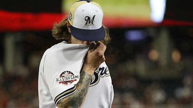 """The Brewers reliever said he was an """"immature"""" child when he wrote the tweets six and seven years ago. Major League Baseball is deciding whether to issue a statement on the matter."""
