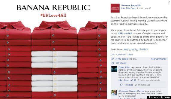 Clothing company Banana Republic posted this image on their Facebook following the Supreme Court's repeal of a major portion of DOMA.