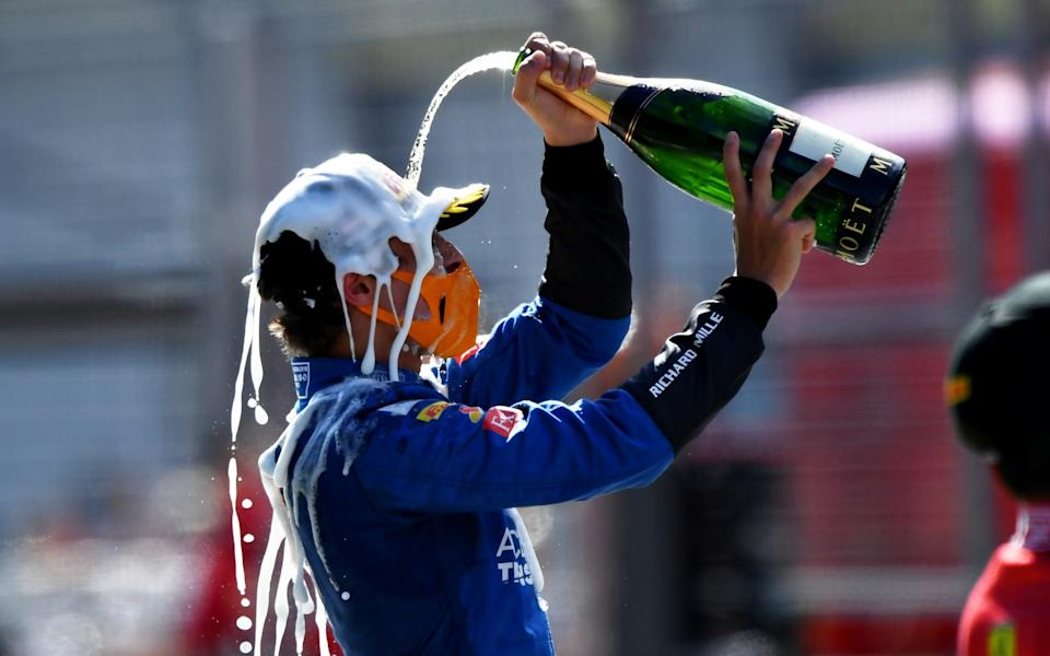 Third place Lando Norris of Great Britain and McLaren F1 celebrates on the podium during the Formula One Grand Prix of Austria at Red Bull Ring on July 05, 2020 in Spielberg, Austria. - Mario Renzi - Formula 1