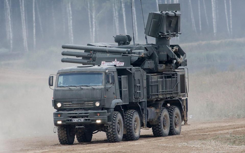 A Pantsir surface-to-air missile and anti-aircraft artillery weapon system during a live fire demonstration at the Russian Army-2017 International Military-Technical Forum, at the Patriot military park outside Moscow. Aug 23, 2017 - Anton Novoderezhkin/TASS