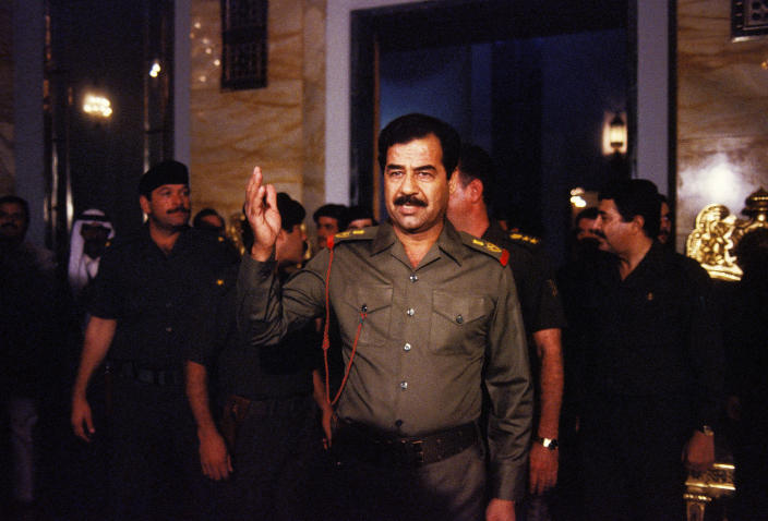 Saddam Hussein in 1983. (Pierre Perrin/Gamma-Rapho via Getty Images)