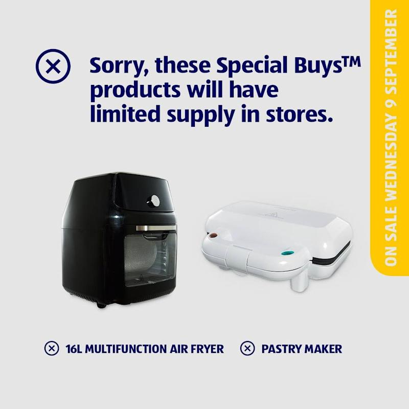 Aldi revealed their Air Fryer and Pastry Maker would only be available in limited quantities. Photo: Facebook/Aldi Australia