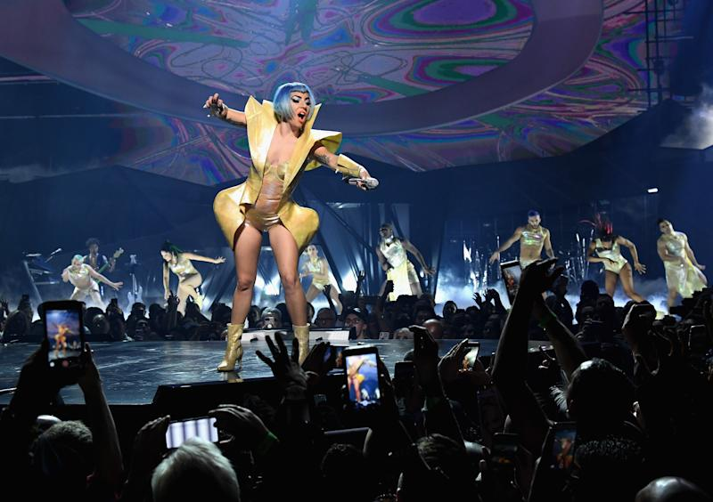 LAS VEGAS, NV - DECEMBER 31: (EXCLUSIVE COVERAGE) Lady Gaga performs on New Year's Eve during her 'EGNIMA' residency at Park Theater at Park MGM on December 31, 2018 in Las Vegas, Nevada. (Photo by Kevin Mazur/Getty Images for Park MGM Las Vegas)